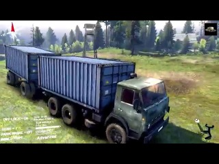 SPINTIRES 2014 - The Plians Map - KAMAZ 55102 Container Truck and Trailer Off Road Driving